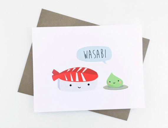 Wasabi kawaii sushi greeting card wasabi and sushi card hand illustrated cards by le trango unique cute greeting cards m4hsunfo