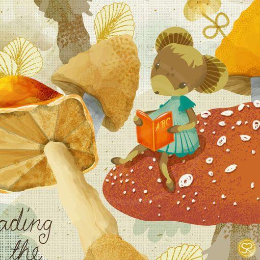 detail of mouse on mushroom in sabine reinhart print | mouse reading art print | Shop Art and Prints at Pop Shop America online shop