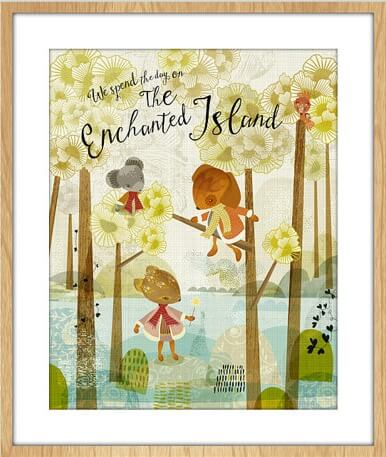 full print enchanted island floral art prints by sabine reinhart | animal prints available at Pop Shop America | Shop Crafty Art, Clothing, and More