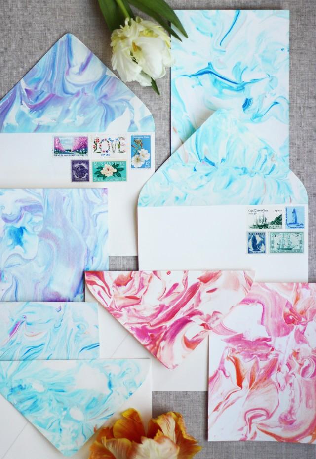 marbled stationery diy craft ideas