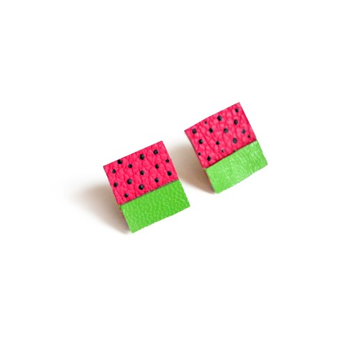 watermelon stud earrings leather jewelry