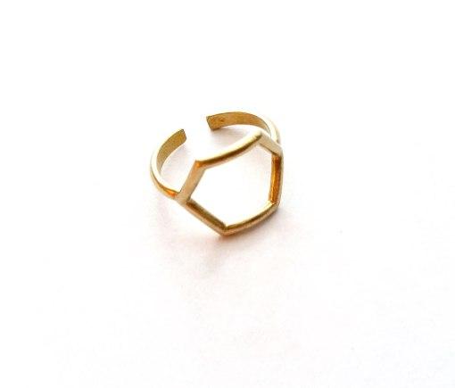 brass-hexagon-ring handcrafted brass jewelry indie design