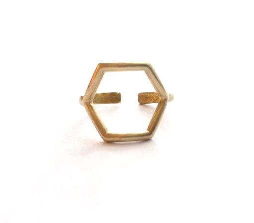 front-view-of-brass-hexagon-ring-handmade-jewelry