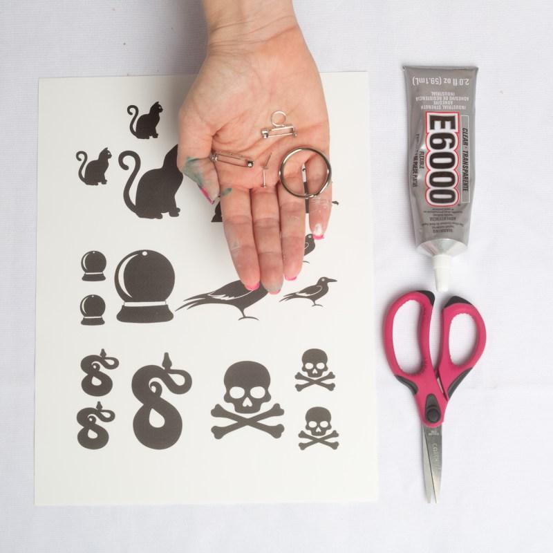supplies to make halloween shrinky dink printables