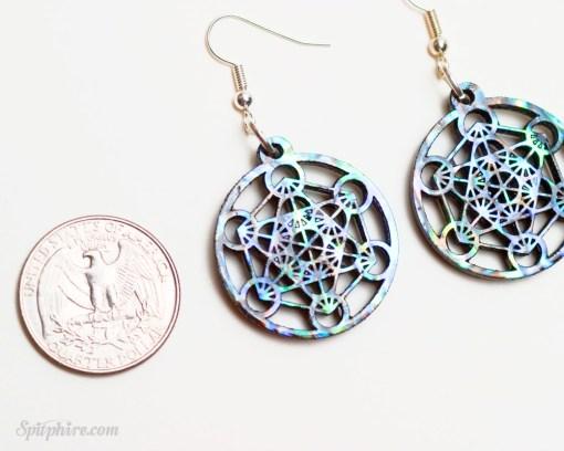 metatron's cube earrings sterling silver