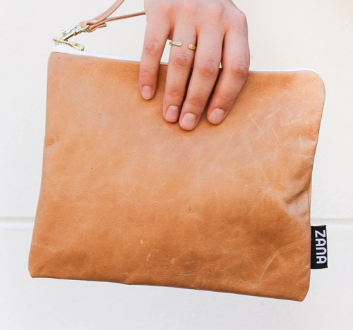 tumbled leather clutch photo pop shop america