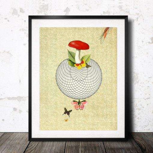 wonderful world print with mushroom by valero doval