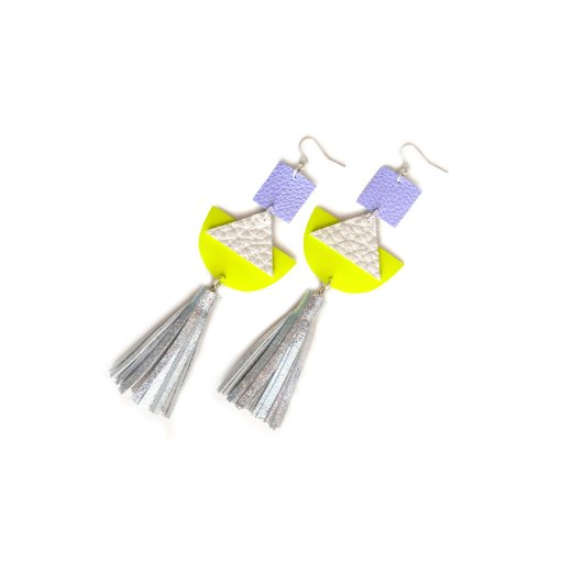 Geometric_Earrings__Neon_Yellow_Leather_Earrings__Holographic_Silver_Leather_Tassel_Earrings__Hologram_Jewelry_3