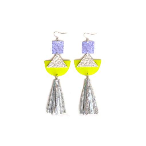 Geometric_Earrings__Neon_Yellow_Leather_Earrings__Holographic_Silver_Leather_Tassel_Earrings__Hologram_Jewelry_4