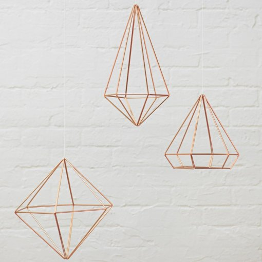 copper hanging orb - geometric shape home decor