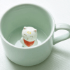 mint ceramic mug with cat