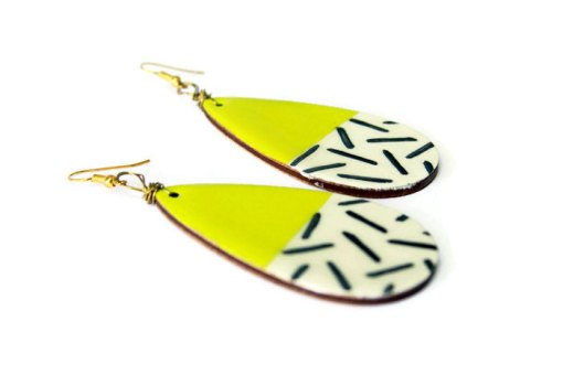 side view hand painted yellow and stripes earrings
