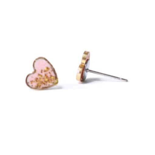 side view pink glitter heart stud earrings