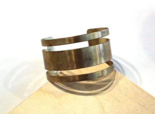 thick stripes brass bracelet - handmade jewelry