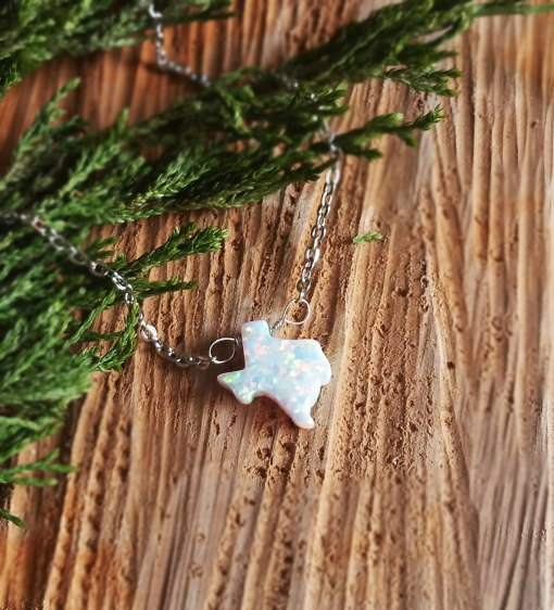 white opal texas necklace handmade jewelry