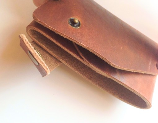 cherry brown leather origami wallet handmade leather goods