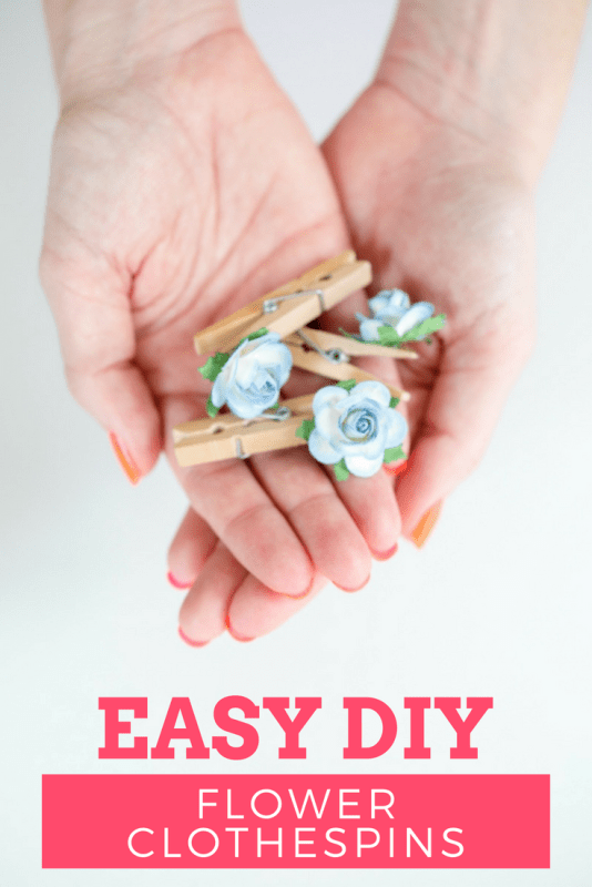 easy diy paper flower clothespins title