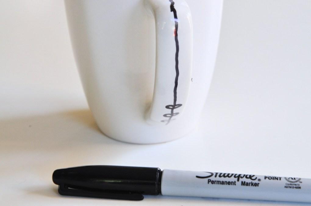 free hand diy coffee mug tutorial with sharpies