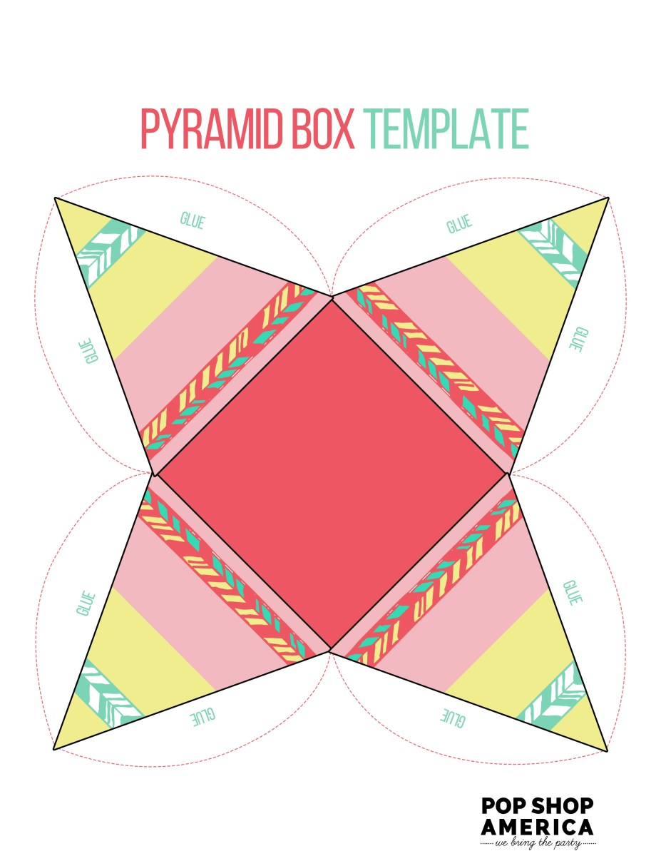 Pink Pyramid Teepee Printable Treat Box Template 1 Pop Shop America