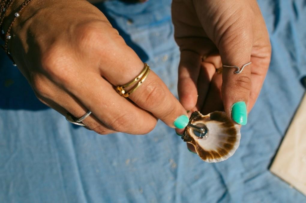 affix the seashell to the barrette pop shop america seashell hair clips