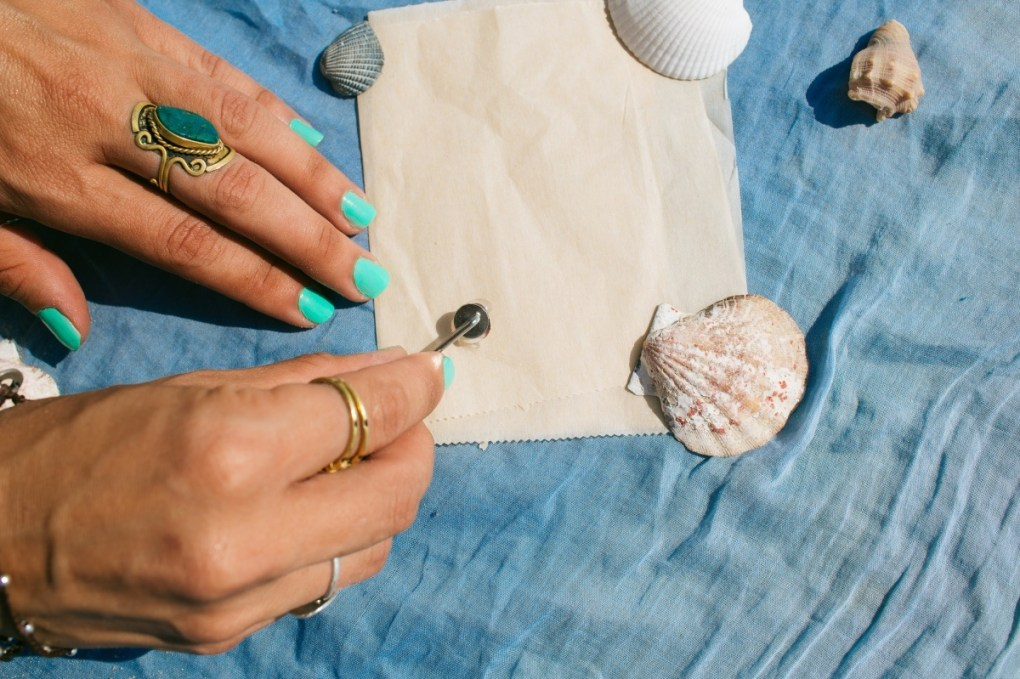 dip the barrette in the glue - how to make diy seashell hair accessories