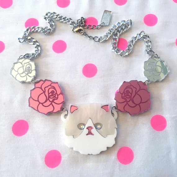 Im Your Present Persian Cat Rose Necklace