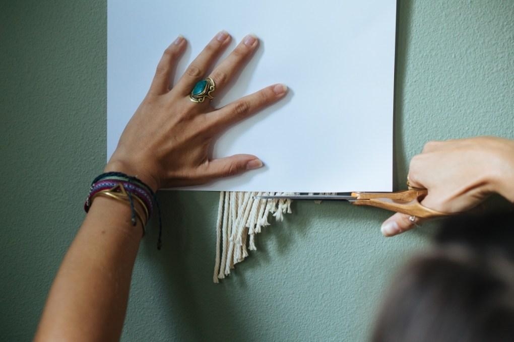 cut the macrame straight across - finishing a wall hanging
