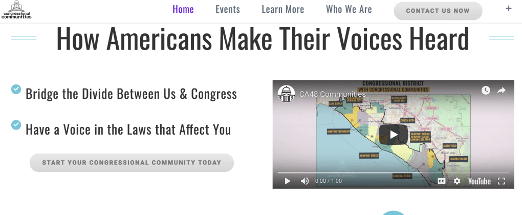 congressional communities website screenshot pop shop america web designers