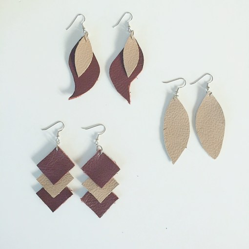 finished leather earrings diy leather kit pop shop america