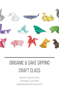 origami and sake sipping craft class houston