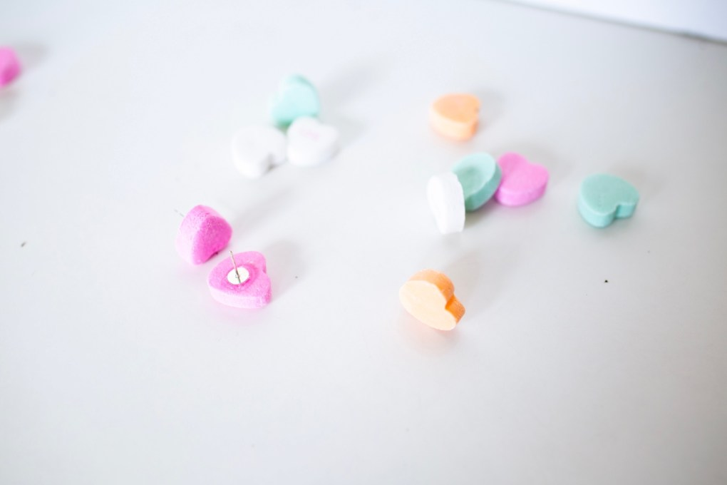 finished diy conversation heart stud earrings pop shop america
