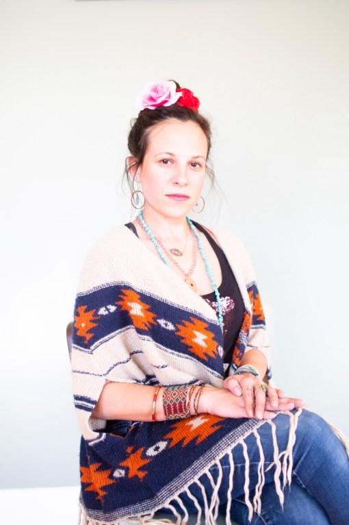 michelle bonich wearing the frida kahlo inspired flower crown pop shop america