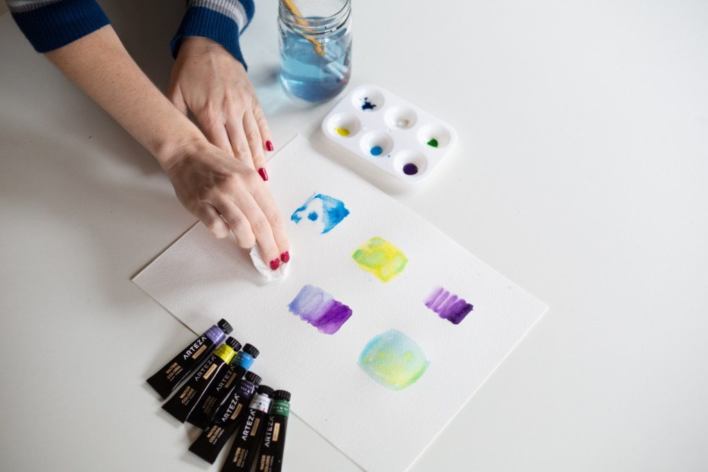 removing pools of water for watercolor blending technique pop shop america