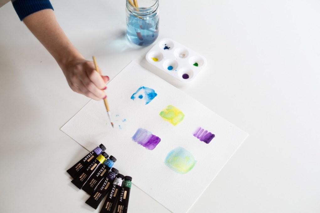 spreading watercolor through brush techniques art tutorials