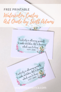 watercolor cactus art quote printable pop shop america