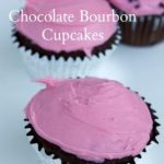 Chocolate Bourbon Cupcakes with Cherry Frosting