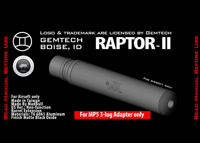 Gemtech Raptor II Airsoft Dummy Suppressor