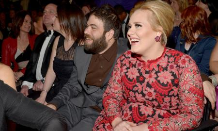 LOS ANGELES, CA - FEBRUARY 10: Adele (R) and Simon Konecki attend the 55th Annual GRAMMY Awards at STAPLES Center on February 10, 2013 in Los Angeles, California.  (Photo by Lester Cohen/WireImage)