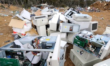 Obsolete computers and accessories on a landfill site near Canberra, Monday, June 9, 2008. Computer components contain recyclable materials (gold, silver, platinium) and toxins such as mercury, phosphor, barium, cadmium and beryllium. (AAP Image/Alan Porritt) NO ARCHIVING