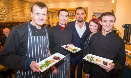 Social Bite handout photo of Oscar winning actor and environmentalist Leonardo DiCaprio with (left to right) Colin Childs, Joe Hart, Biffy Mackay and Sonny Murray as he visits Home by Social Bite, a new restaurant in Edinburgh which was set up to provide food, training and employment opportunities for homeless people in Scotland.  PRESS ASSOCIATION Photo. Issue date: Thursday November 17, 2016. See PA story SHOWBIZ DiCaprio. Photo credit should read: Jeff Holmes/Social Bite/PA Wire NOTE TO EDITORS: This handout photo may only be used in for editorial reporting purposes for the contemporaneous illustration of events, things or the people in the image or facts mentioned in the caption. Reuse of the picture may require further permission from the copyright holder.