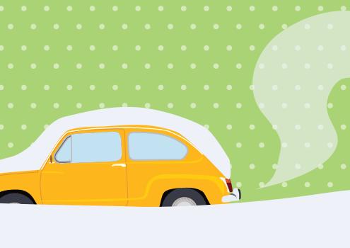 Ogrevanje avta pred vožnjo ni smisleno / PorabimanjINFO / Ilustracija_ Branko Baćović