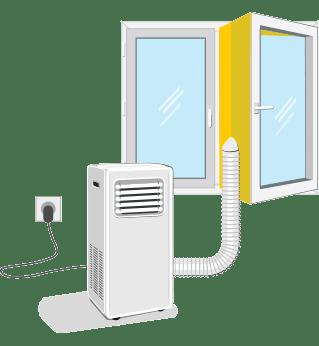 Izbira mesta za prenosno klimatsko napravo / PorabimanjINFO / Ilustracija: Branko Baćović