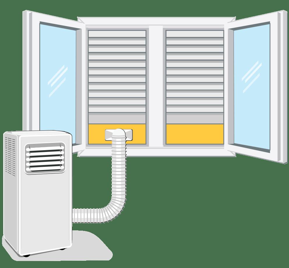 Kako montirati cev za odvod toplega zraka prenosne klimatske naprave / PorabimanjINFO / Ilustracija: Branko Baćović