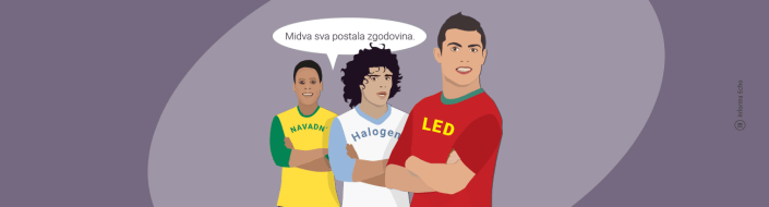 Prihranek pri zamenjavi halogenske žarnice / PorabimanjINFO / Ilustracija: Branko Baćović