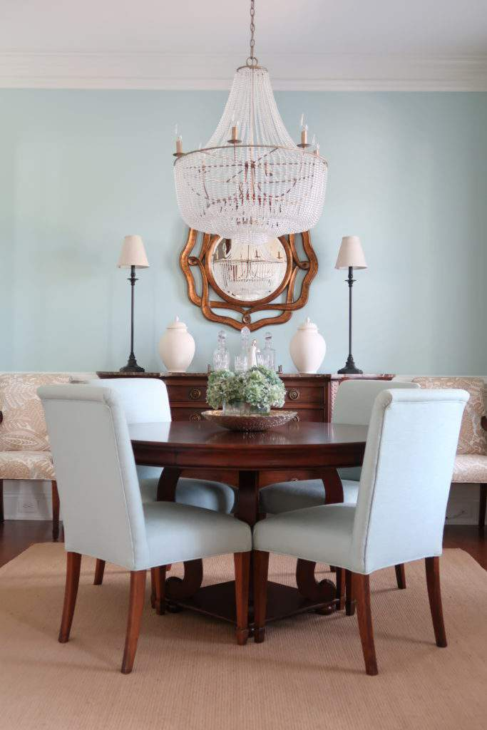 Blue Dining Room And Empire Chandelier With Round Table Part 51