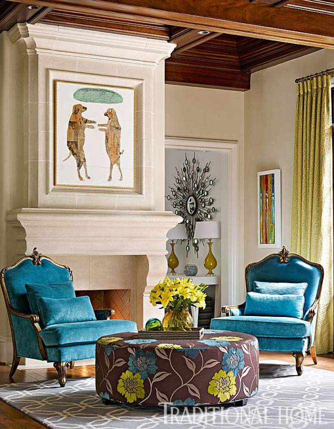 Velvet French Chairs in Peacock-Traditional Home