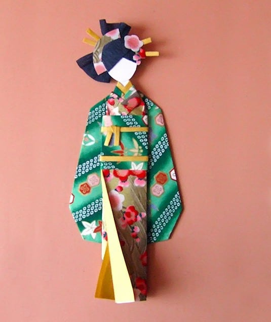 Cómo hacer una muñeca con papel chiyogami