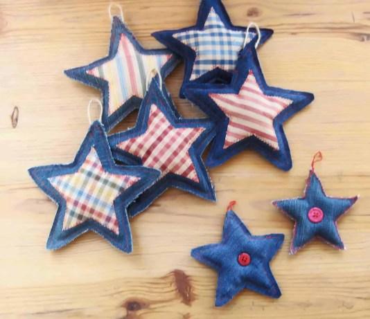 DIY adornos de Navidad: Estrellas de tela vaquera