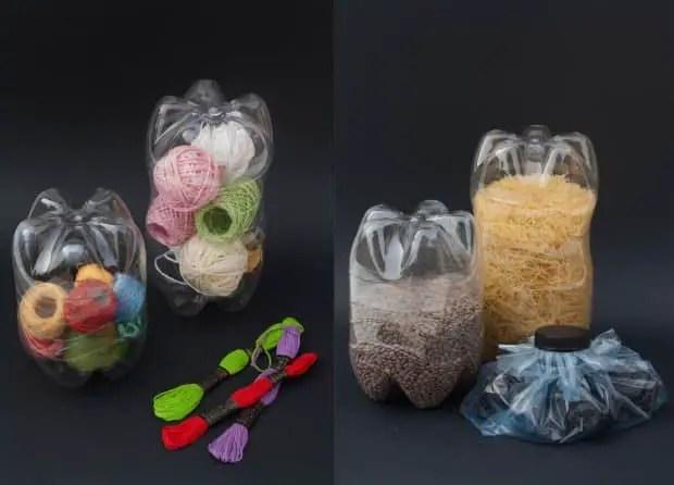 Botellas de plastico utilizadas como recipientes