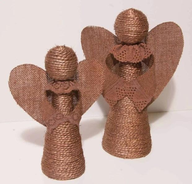 Cómo hacer ángeles con cuerda y arpillera
